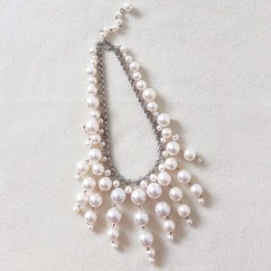 Dangled Faux Pearl Beaded Silver Statement Necklace
